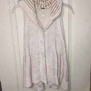 Free People cream hooded knit vest